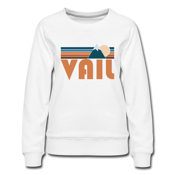 Vail, Colorado Women's Sweatshirt - Retro Mountain Women's Vail Crewneck Sweatshirt - white