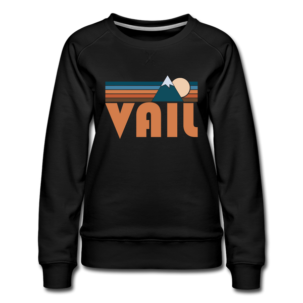 Vail, Colorado Women's Sweatshirt - Retro Mountain Women's Vail Crewneck Sweatshirt - black
