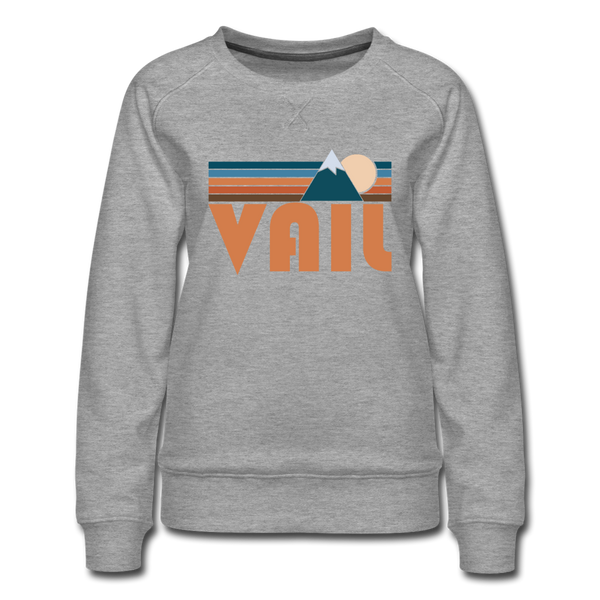 Vail, Colorado Women's Sweatshirt - Retro Mountain Women's Vail Crewneck Sweatshirt - heather gray