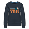 Vail, Colorado Women's Sweatshirt - Retro Mountain Women's Vail Crewneck Sweatshirt - navy