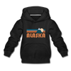 Alaska Youth Hoodie - Retro Mountain Youth Alaska Hooded Sweatshirt - black