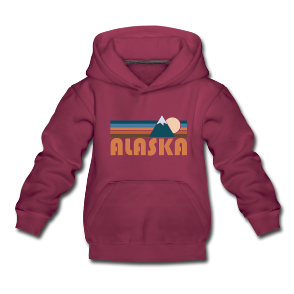 Alaska Youth Hoodie - Retro Mountain Youth Alaska Hooded Sweatshirt - burgundy