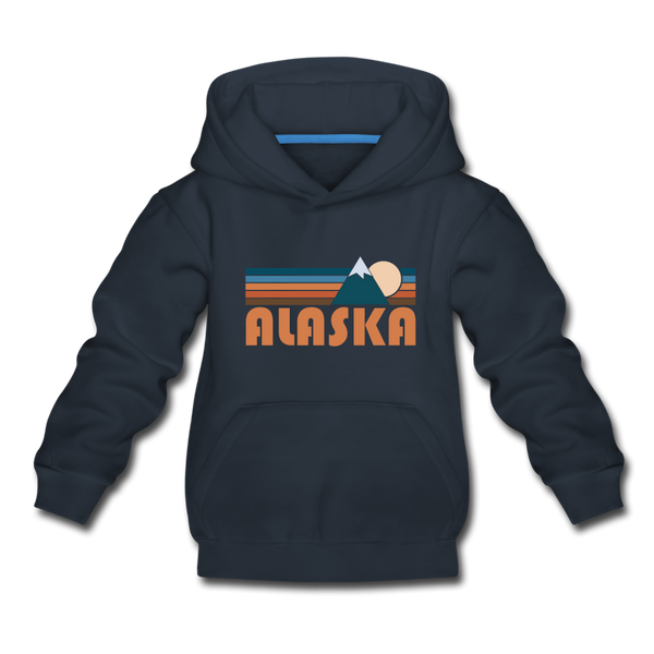 Alaska Youth Hoodie - Retro Mountain Youth Alaska Hooded Sweatshirt - navy