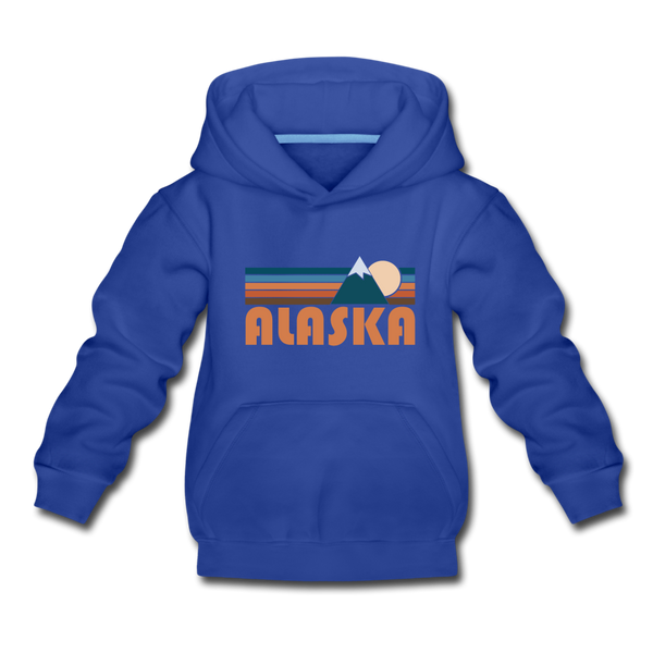 Alaska Youth Hoodie - Retro Mountain Youth Alaska Hooded Sweatshirt - royal blue