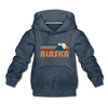 Alaska Youth Hoodie - Retro Mountain Youth Alaska Hooded Sweatshirt - heather denim