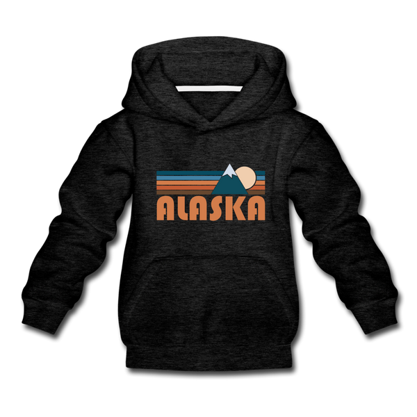 Alaska Youth Hoodie - Retro Mountain Youth Alaska Hooded Sweatshirt - charcoal gray