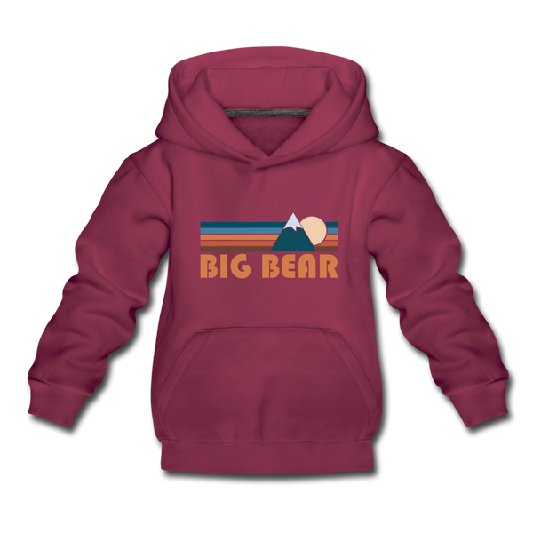 Big Bear, California Youth Hoodie - Retro Mountain Youth Big Bear Hooded Sweatshirt - burgundy