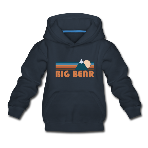 Big Bear, California Youth Hoodie - Retro Mountain Youth Big Bear Hooded Sweatshirt - navy