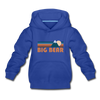 Big Bear, California Youth Hoodie - Retro Mountain Youth Big Bear Hooded Sweatshirt - royal blue