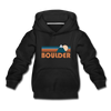 Boulder, Colorado Youth Hoodie - Retro Mountain Youth Boulder Hooded Sweatshirt - black