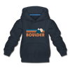 Boulder, Colorado Youth Hoodie - Retro Mountain Youth Boulder Hooded Sweatshirt - navy