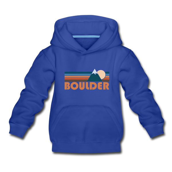 Boulder, Colorado Youth Hoodie - Retro Mountain Youth Boulder Hooded Sweatshirt - royal blue