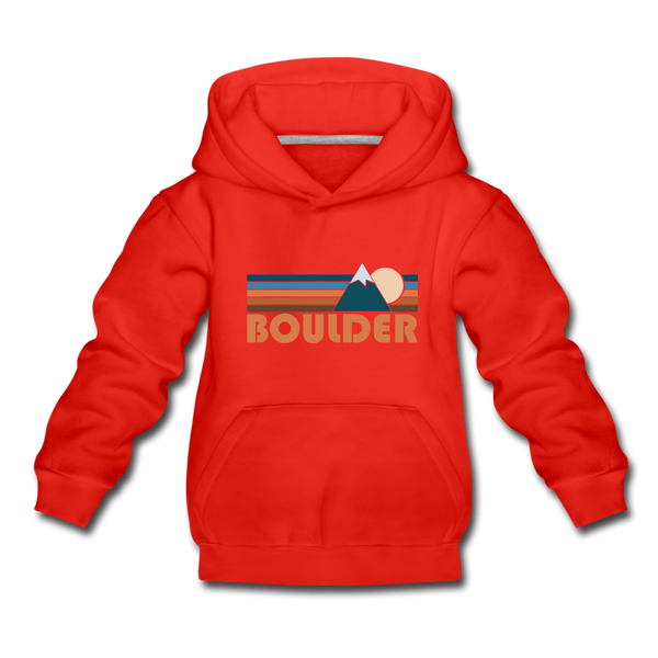 Boulder, Colorado Youth Hoodie - Retro Mountain Youth Boulder Hooded Sweatshirt - red