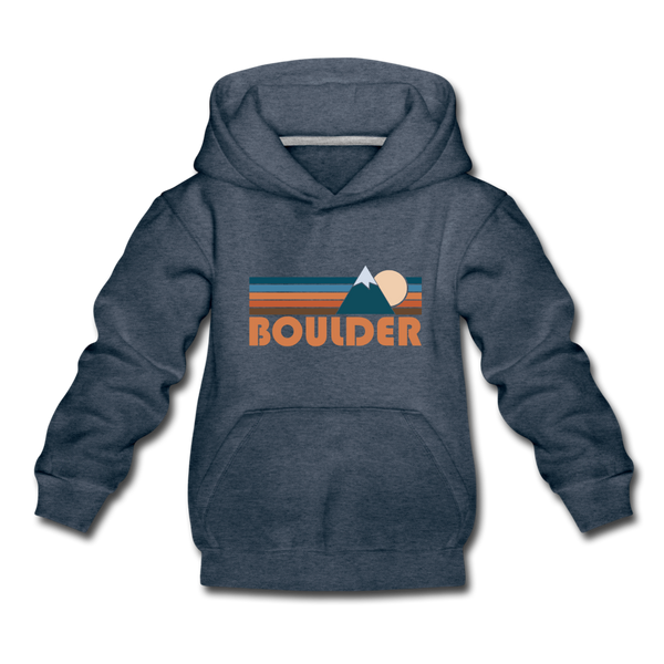 Boulder, Colorado Youth Hoodie - Retro Mountain Youth Boulder Hooded Sweatshirt - heather denim
