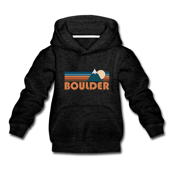 Boulder, Colorado Youth Hoodie - Retro Mountain Youth Boulder Hooded Sweatshirt - charcoal gray