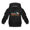 Fort Collins, Colorado Youth Hoodie - Retro Mountain Youth Fort Collins Hooded Sweatshirt - black