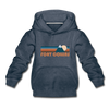 Fort Collins, Colorado Youth Hoodie - Retro Mountain Youth Fort Collins Hooded Sweatshirt - heather denim