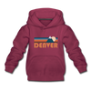 Denver, Colorado Youth Hoodie - Retro Mountain Youth Denver Hooded Sweatshirt - burgundy