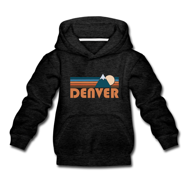 Denver, Colorado Youth Hoodie - Retro Mountain Youth Denver Hooded Sweatshirt - charcoal gray