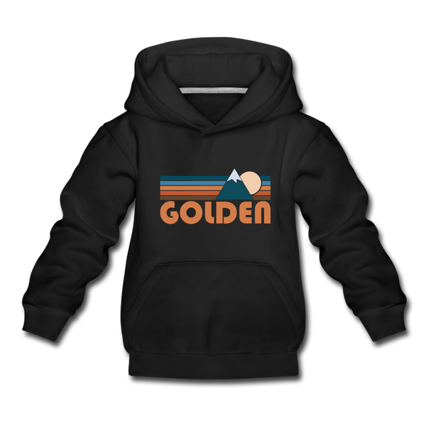 Golden, Colorado Youth Hoodie - Retro Mountain Youth Golden Hooded Sweatshirt - black