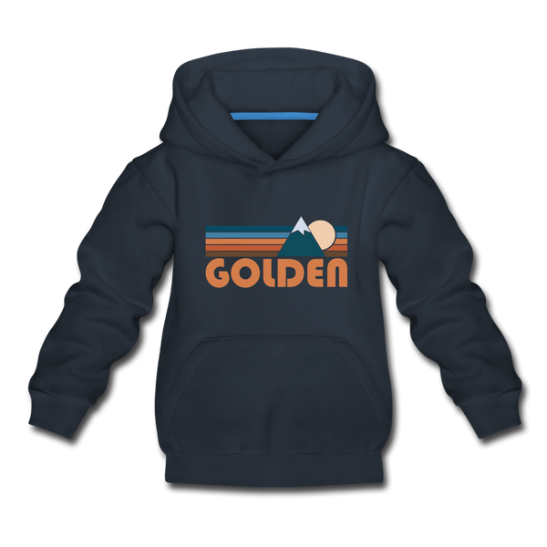 Golden, Colorado Youth Hoodie - Retro Mountain Youth Golden Hooded Sweatshirt - navy