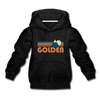 Golden, Colorado Youth Hoodie - Retro Mountain Youth Golden Hooded Sweatshirt - charcoal gray