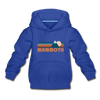 Mammoth, California Youth Hoodie - Retro Mountain Youth Mammoth Hooded Sweatshirt - royal blue