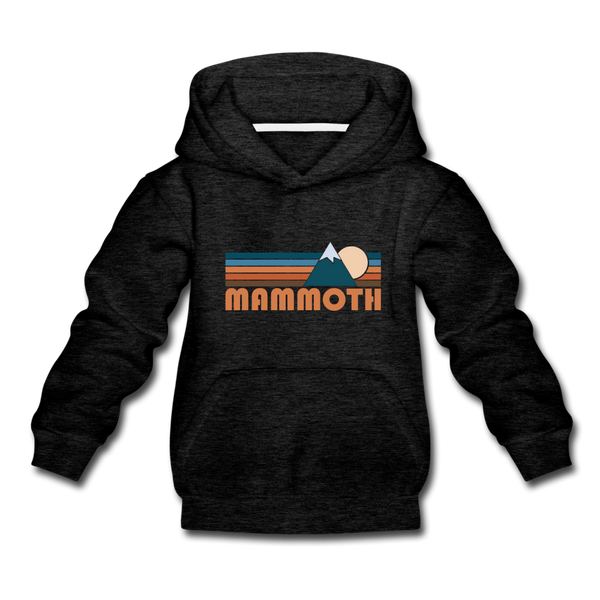 Mammoth, California Youth Hoodie - Retro Mountain Youth Mammoth Hooded Sweatshirt - charcoal gray