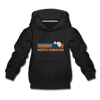 North Carolina Youth Hoodie - Retro Mountain Youth North Carolina Hooded Sweatshirt - black