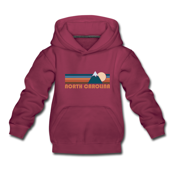 North Carolina Youth Hoodie - Retro Mountain Youth North Carolina Hooded Sweatshirt - burgundy