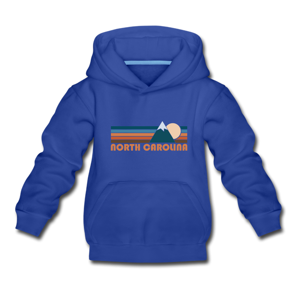 North Carolina Youth Hoodie - Retro Mountain Youth North Carolina Hooded Sweatshirt - royal blue