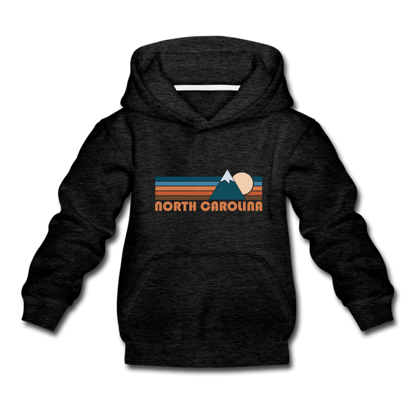 North Carolina Youth Hoodie - Retro Mountain Youth North Carolina Hooded Sweatshirt - charcoal gray