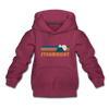 Steamboat, Colorado Youth Hoodie - Retro Mountain Youth Steamboat Hooded Sweatshirt - burgundy