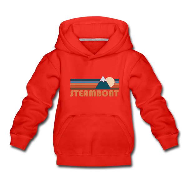 Steamboat, Colorado Youth Hoodie - Retro Mountain Youth Steamboat Hooded Sweatshirt - red