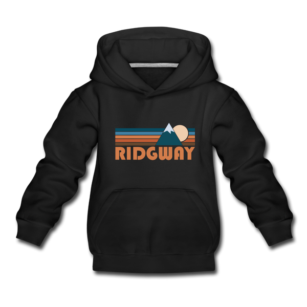 Ridgway, Colorado Youth Hoodie - Retro Mountain Youth Ridgway Hooded Sweatshirt - black