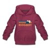 Ridgway, Colorado Youth Hoodie - Retro Mountain Youth Ridgway Hooded Sweatshirt - burgundy