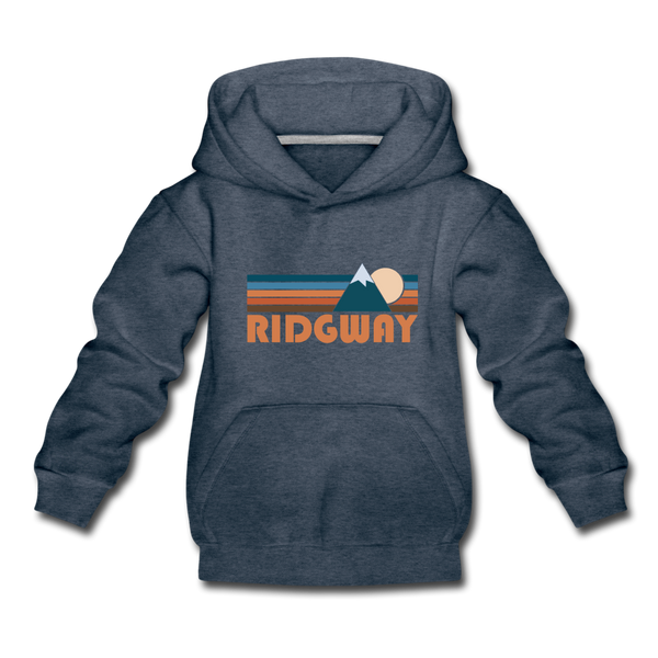 Ridgway, Colorado Youth Hoodie - Retro Mountain Youth Ridgway Hooded Sweatshirt - heather denim