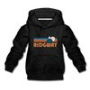 Ridgway, Colorado Youth Hoodie - Retro Mountain Youth Ridgway Hooded Sweatshirt - charcoal gray