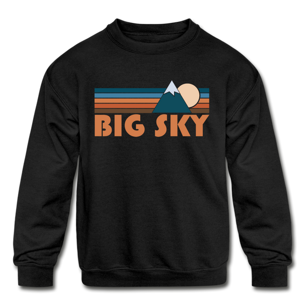 Big Sky, Montana Youth Sweatshirt - Retro Mountain Youth Big Sky Crewneck Sweatshirt - black