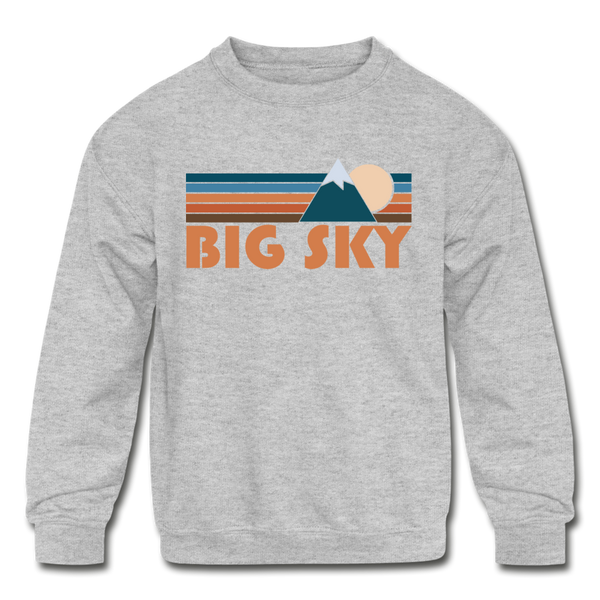 Big Sky, Montana Youth Sweatshirt - Retro Mountain Youth Big Sky Crewneck Sweatshirt - heather gray