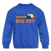 Big Sky, Montana Youth Sweatshirt - Retro Mountain Youth Big Sky Crewneck Sweatshirt - royal blue