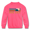 Big Sky, Montana Youth Sweatshirt - Retro Mountain Youth Big Sky Crewneck Sweatshirt - neon pink