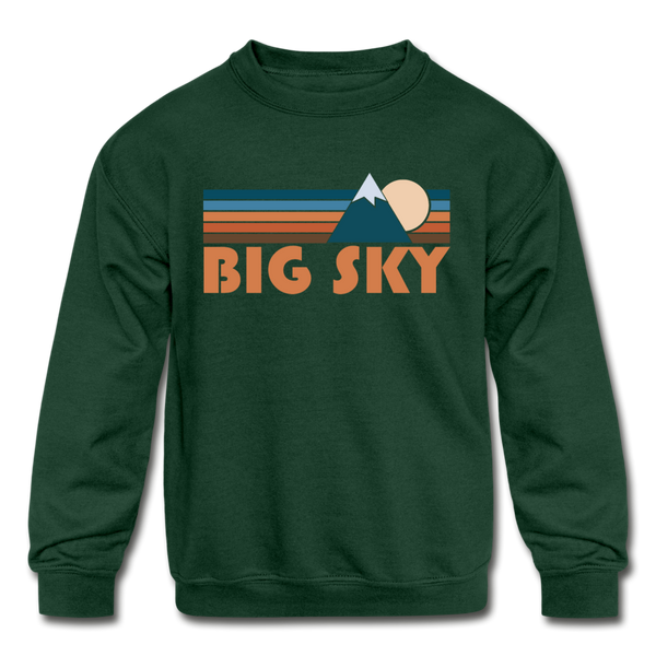 Big Sky, Montana Youth Sweatshirt - Retro Mountain Youth Big Sky Crewneck Sweatshirt - forest green