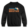 Whistler, Canada Youth Sweatshirt - Retro Mountain Youth Whistler Crewneck Sweatshirt - black