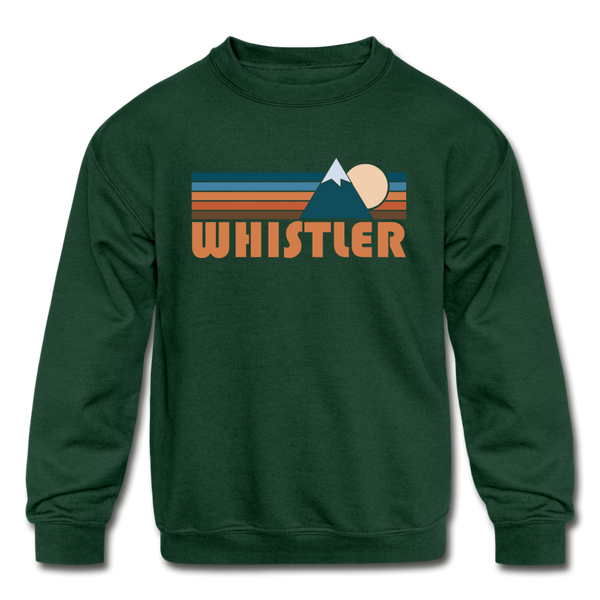 Whistler, Canada Youth Sweatshirt - Retro Mountain Youth Whistler Crewneck Sweatshirt - forest green