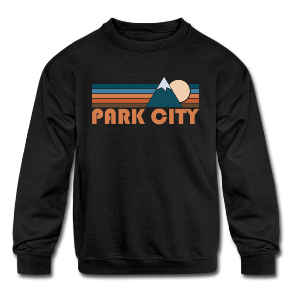Park City, Utah Youth Sweatshirt - Retro Mountain Youth Park City Crewneck Sweatshirt - black