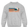 Park City, Utah Youth Sweatshirt - Retro Mountain Youth Park City Crewneck Sweatshirt - heather gray
