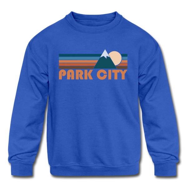 Park City, Utah Youth Sweatshirt - Retro Mountain Youth Park City Crewneck Sweatshirt - royal blue