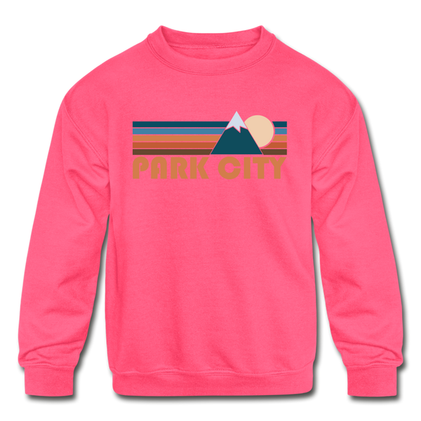 Park City, Utah Youth Sweatshirt - Retro Mountain Youth Park City Crewneck Sweatshirt - neon pink