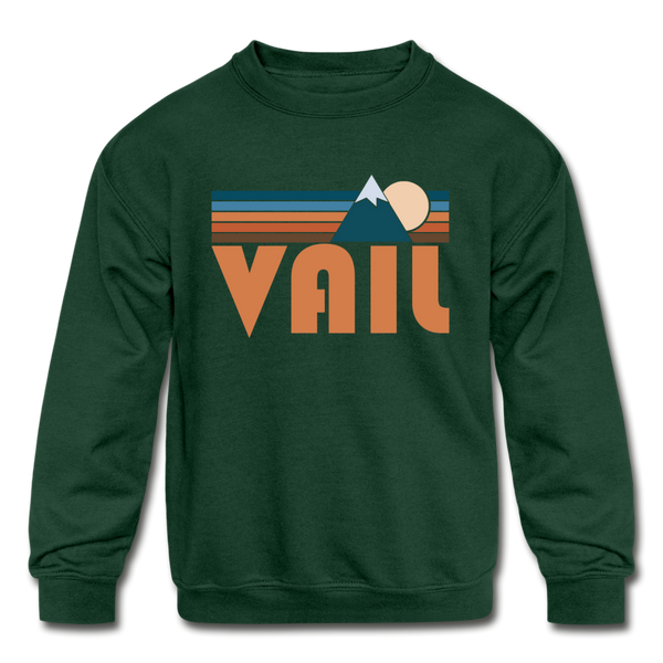 Vail, Colorado Youth Sweatshirt - Retro Mountain Youth Vail Crewneck Sweatshirt - forest green